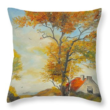 Throw Pillow featuring the painting On Country Road  by Sorin Apostolescu
