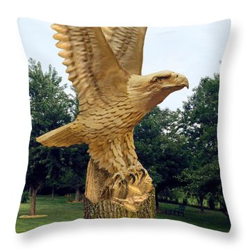 Throw Pillow featuring the digital art On Eagle's Wings by Doug Kreuger