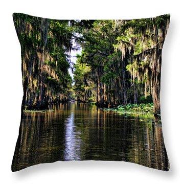 On Golden Canal Throw Pillow