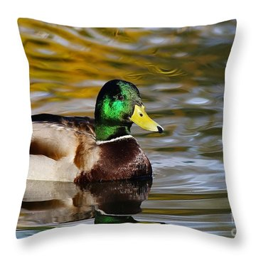Duck On Golden Pond Throw Pillow