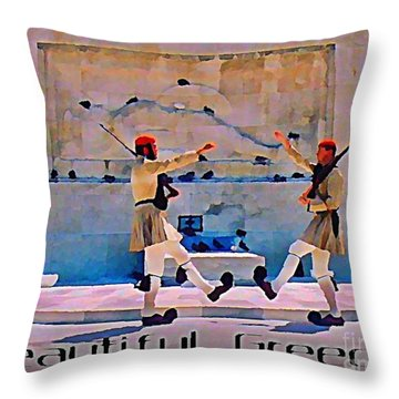 On Guard At The Athens Capitol Throw Pillow by John Malone