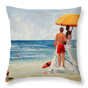 On Guard Throw Pillow by Keith Wilkie