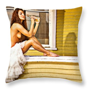 On My Mind Painted Throw Pillow