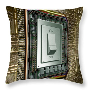 On Off Switch On Circuits Throw Pillow by Mike Agliolo
