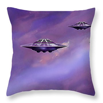 Throw Pillow featuring the painting Sky  Patrol by Hartmut Jager