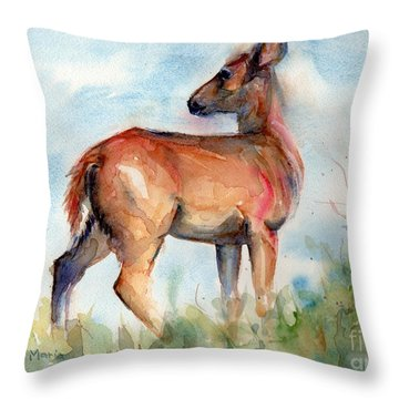 On Second Thought Throw Pillow by Maria's Watercolor