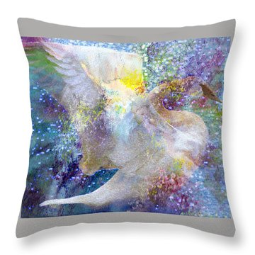 On Swan's Wings Throw Pillow