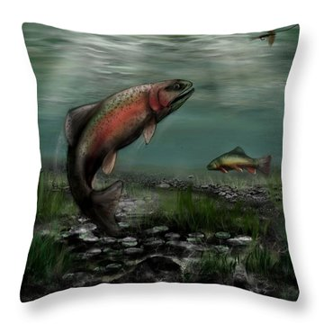 On The Attack - Rainbow Trout After A Fly Throw Pillow