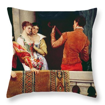 On The Balcony Throw Pillow by Eugen von Blaas