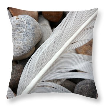 On The Beach 4 Throw Pillow by Mary Bedy