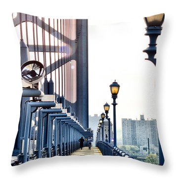 On The Ben Franklin Bridge Throw Pillow by Bill Cannon