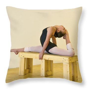 Practicing Ballet On The Bench Throw Pillow