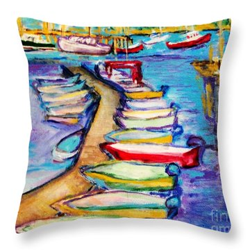 Throw Pillow featuring the painting On The Boardwalk by Helena Bebirian