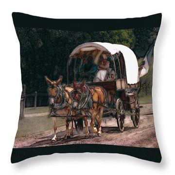On The Bozeman Trail Throw Pillow by Kae Cheatham