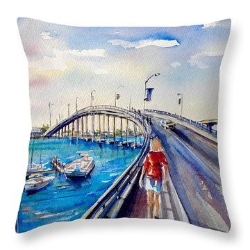On The Bridge Throw Pillow