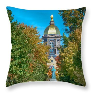 On The Campus Of The University Of Notre Dame Throw Pillow