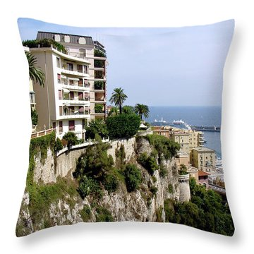On The Cliff In Monaco Throw Pillow