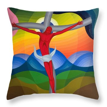 On The Cross Throw Pillow by Emil Parrag
