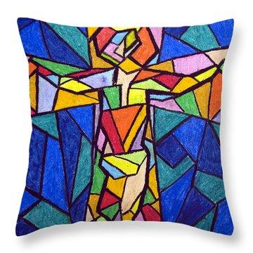 On The Cross Throw Pillow by Matthew Doronila