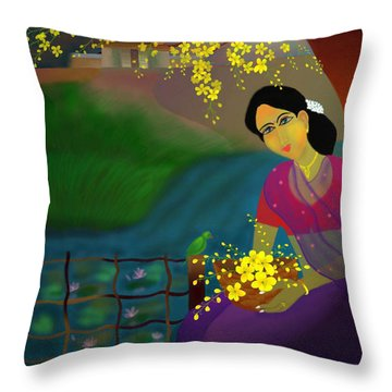 Throw Pillow featuring the digital art On The Eve Of Golden Shower Festival by Latha Gokuldas Panicker