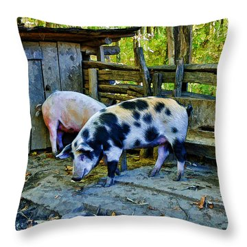 On The Farm Throw Pillow by Kenny Francis