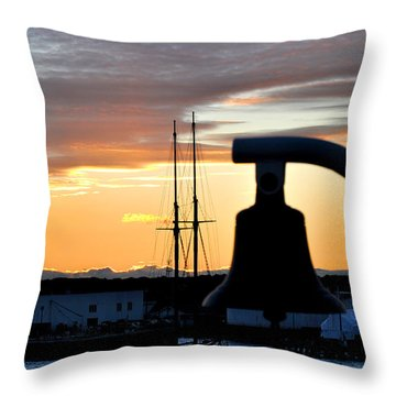 On The Ferry At Sunrise In Marthas Vineyard Throw Pillow by Diane Lent