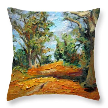 On The Forest Throw Pillow by Jieming Wang