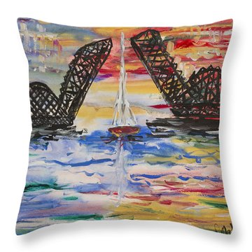 On The Hour. The Sailboat And The Steel Bridge Throw Pillow