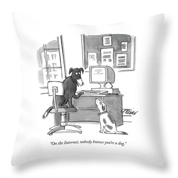 On The Internet Throw Pillow by Peter Steiner