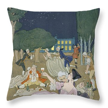 On The Lawn Throw Pillow by Georges Barbier