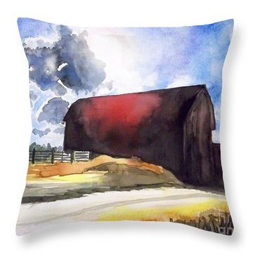 On The Macon Road. - Saline Michigan Throw Pillow by Yoshiko Mishina