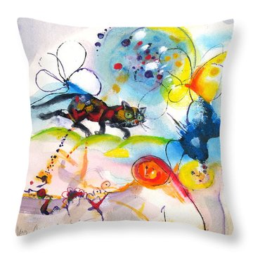 Throw Pillow featuring the painting On The Prowl by Mary Armstrong