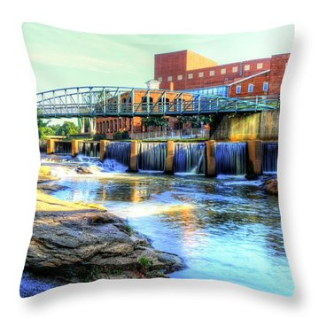 On The Reedy River In Greenville Throw Pillow