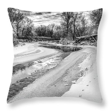 On The Riverbank Bw Throw Pillow