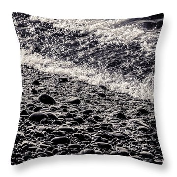 On The Rocks  French Beach Square Throw Pillow