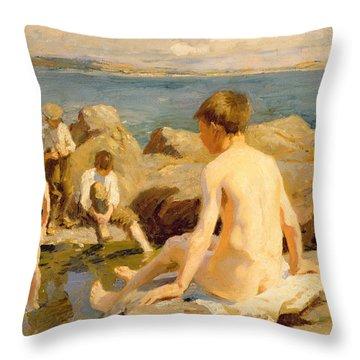 On The Rocks Near Newlyn Throw Pillow