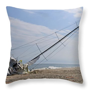 On The Sand Throw Pillow by Alida Thorpe
