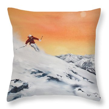 Throw Pillow featuring the painting On The Slopes by Jean Walker
