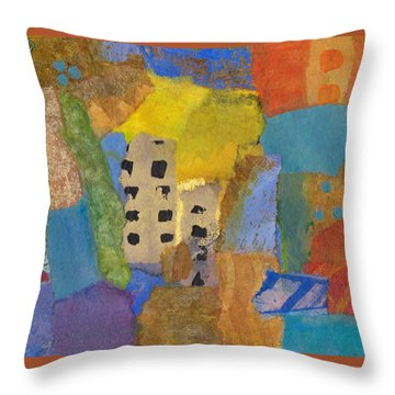 Throw Pillow featuring the mixed media On The Strand by Catherine Redmayne