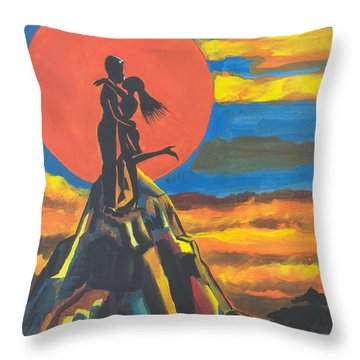 On The Summit Of Love Throw Pillow by Emmanuel Baliyanga