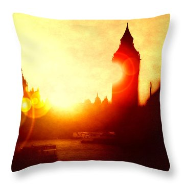 Throw Pillow featuring the digital art Big Ben On The Thames by Fine Art By Andrew David