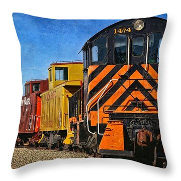 On The Tracks Throw Pillow by Peggy Hughes