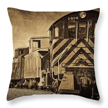 Throw Pillow featuring the photograph On The Tracks... Take Two. by Peggy Hughes