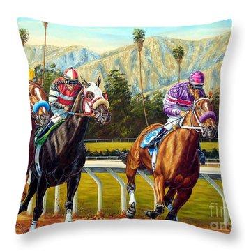 On The Turf At Santa Anita Throw Pillow
