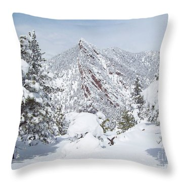 On Top Of Bear Peak Snow Mountain  Throw Pillow