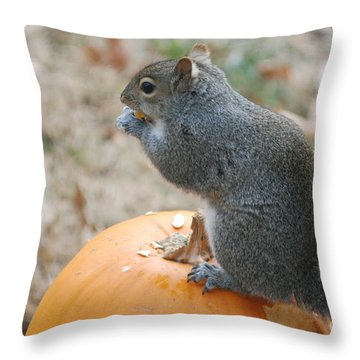 Throw Pillow featuring the photograph On Top Of The Pumpkin by Mark McReynolds