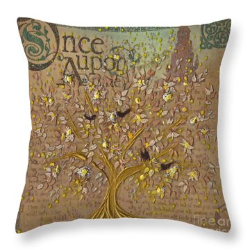 Once Upon A Golden Garden By Jrr Throw Pillow by First Star Art