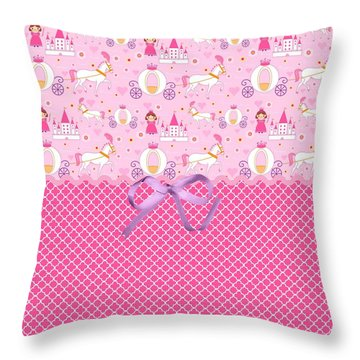Once Upon A Princess Throw Pillow by Debra  Miller