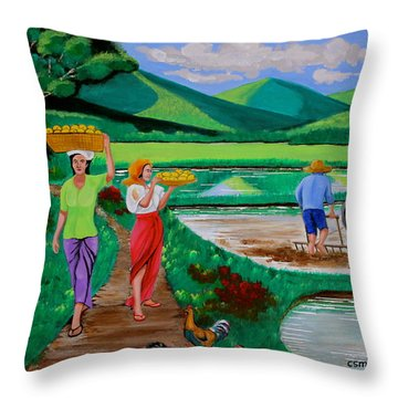 One Beautiful Morning In The Farm Throw Pillow by Lorna Maza