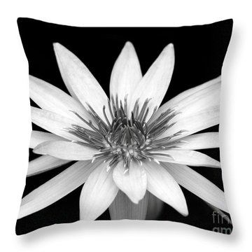 One Black And White Water Lily Throw Pillow